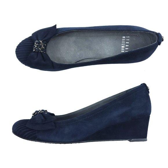 Stuart Weitzman Blue Suede Leather Wedges Heels
